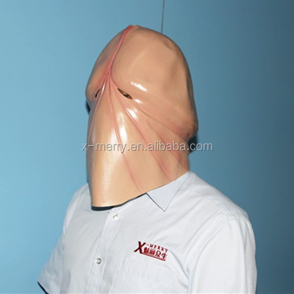 X-MERRY Fake Penis Sexy Dick Mask Sex Eye Mask, Latex Mask Halloween Costume