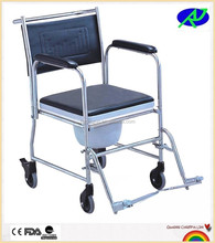 Stainless steel adult potty chair and handicap toilet chairs with wheels for elderly