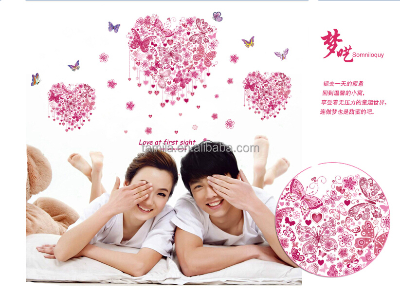 Love Heart Shaped quote wall decals Stickers decorative adesivo de parede removable vinyl wall stickers