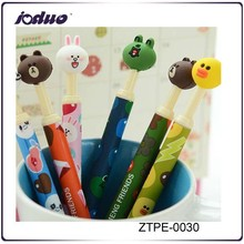 2015 6 Kinds Cute Animals Head Shape Soft Rubber Ball-point Pen Funny School And Office Supplies Pen