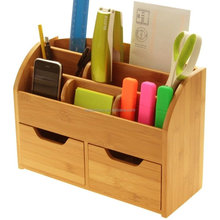 Multifunctional Bamboo Wood Office Desk Organizer with Wall Mounted Slot