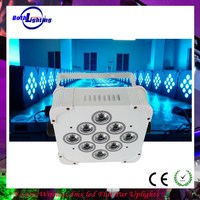 Master/slave DMX led flat par 9x6w 6 in 1 rgbaw uv wireless dmx powered led par