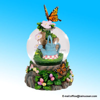 polyresin Orange and Black Butterfly in the Garden Glass Musical Snow Globe