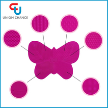 Yiwu Hot Sale Butterfly Shape Silicone Makeup Brush Cleaner Pad Mat with Suction Cup