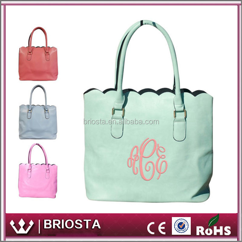 New Arrival Personalized Monogram Scalloped Tote