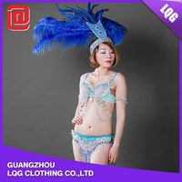 Hot fashion handmade royal blue feather crystal carnival costumes for teens