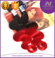 High quality body wave Indian remy hair extension, ombre color Indian human hair