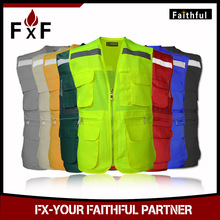 Multi pocket High visible safety clothing 3m reflective safety jacket