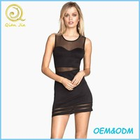 Women Sexy Wear Figure Fit Dress With Sheer Panels