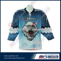 100%polyester custom-made ice hockey jersey with Team Numbers