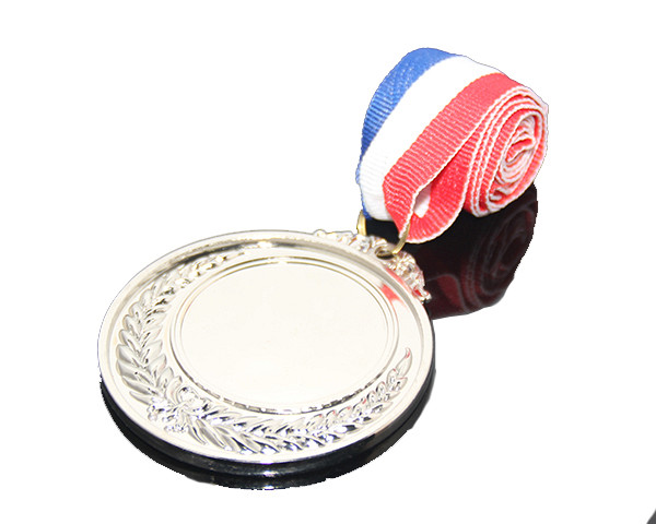Blue White Red Color Ribbon Belt Custom Or Wholesale Celebration Souvenir Sports Meeting Medals Blank Alloy Metal School Medal