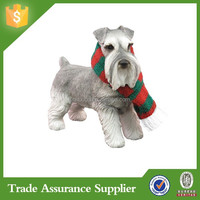 Sandicast Gray Schnauzer With Red And Green Scarf Christmas Dog Ornament