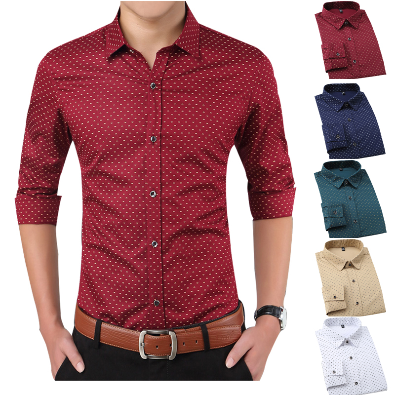 Men <strong>Shirts</strong> Casual Slim Fit Long Sleeve <strong>Shirt</strong> For Male designer Print Camisa Brand Dress <strong>Shirt</strong> Big Size M~5XL