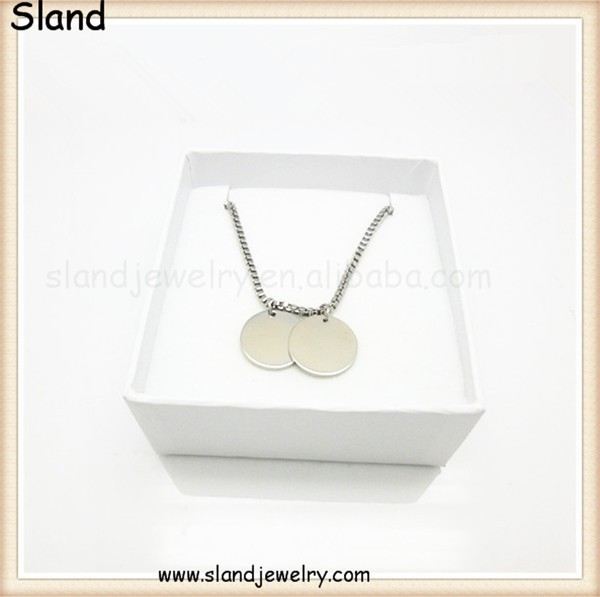 wholesale Fashion lovely women statement stainless steel Modern Everyday jewelry , Small Flat Circle Simple blank discs necklace