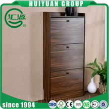 2017 wholesale three layers wooden rotating shoe rack cabinet for hot sale used in livingroom