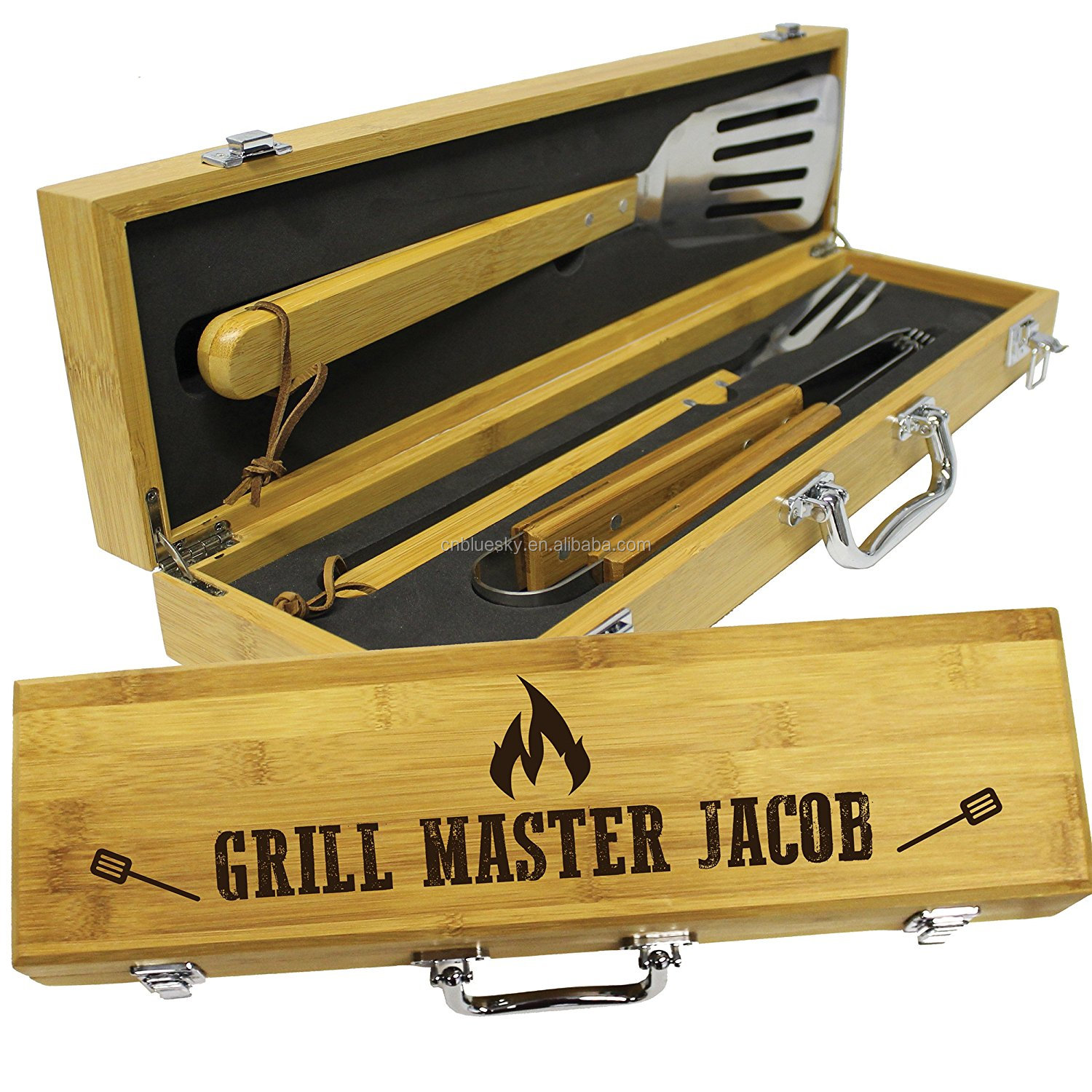 High Quality 3Piece Barbeque Tools Set with wooden box
