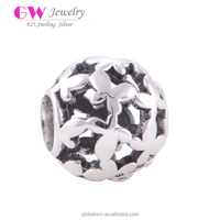 2016 Graduation charm Vintage 925 Sterling Silver Bead Butterfly Cutout Ball New model Jewellery T006