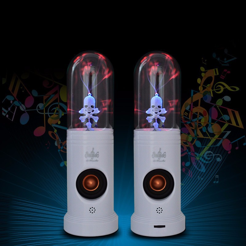 Magic Electrostatic Plasma Skull Head <strong>Speaker</strong> MP3 Player,Pair of Touch Skull Head Hifi Subwoofer <strong>Speaker</strong> for PC,laptops