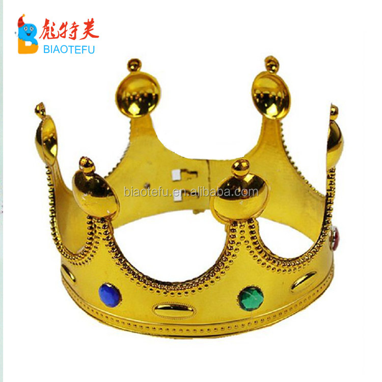 Kids king adjustable golden silver plastic crown