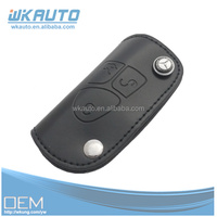 high quality black color real leather with car logoes key case