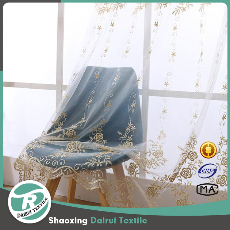 Luxury floral embroidery sheer curtain for living room
