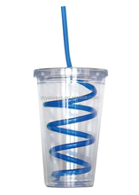 Insulated Plastic 16 oz Drink Cup Glass with Lid & Curly Crazy Travel Tumbler