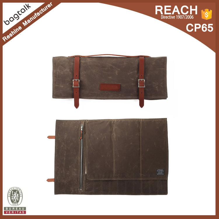 KL002 Alibaba China Wholesale Waxed Canvas Kitchen Accessories Knife Chefs Set Roll Bag