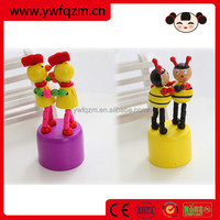 Wooden push up toy, push puppets animals