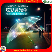 Factory Cheap Wholesale Custom Design light up Flashing light led umbrella Transparent Stick umbrella of led light