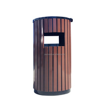 Stand round plant supplier park wooden recycling public animal waste bin