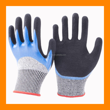 Seamless Knit HPPE/Glass Cut 5 Glove with 3/4 Dip Smooth Nitrile and Double Palm Coated Nitrile Grip Cut Resistant Gloves