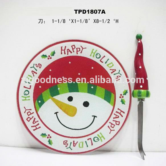 Happy holiday snowman round kitchen cutting board with SS knife