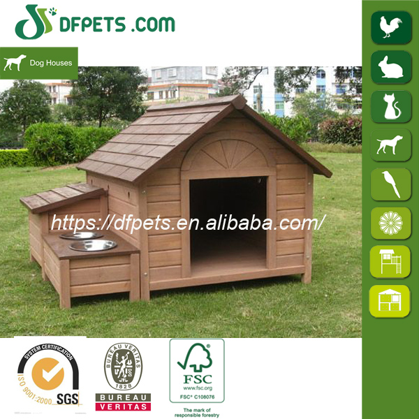 Hot Sale Wooden Dog Kennel With Feeding Bowl