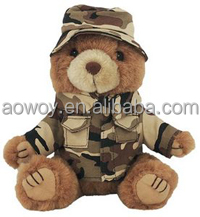 custom logo stuffed bears imprinted plush soft stuffed Marine Bear - Desert Camo Boonie Hat bandana t-shirt toys