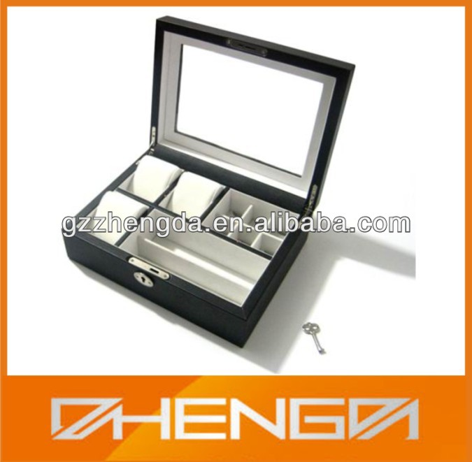 High quality factory customized made wooden box covered with leather for jewelry (ZDS-JS1430)