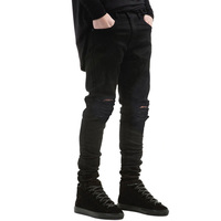 MOON BUNNY Men's Black Jeans Skinny Ripped Stretch Slim Pants Fashion Denim Trousers 30-36 Free Shipping Wholesale MOQ 1 set