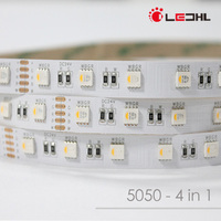 5m led strip 60leds/m 5050 led strip 60leds rgbw waterproof,WhitePCB, with 44 keys Remote controller