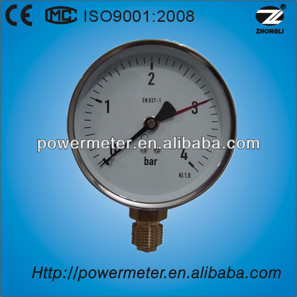 Diameter 100mm 4bar radial propane tank pressure gauge manometro