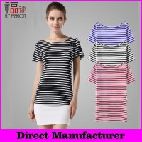 YBT6001# Free shipping! women hight qualtiy 100% cotton t- shirt striped short Sleeve plain round neck crop tops wholesale