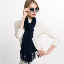 Woven Woolen Scarf Wool Wrap Unisex Scarf With Fringes Neck Wrap