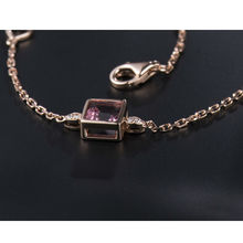 Hot Selling Solid 18K Rose Gold Bracelet With Chain,Natural Diamond Pink Tourmaline Bracelet 750 Rose Gold For Women SB0435
