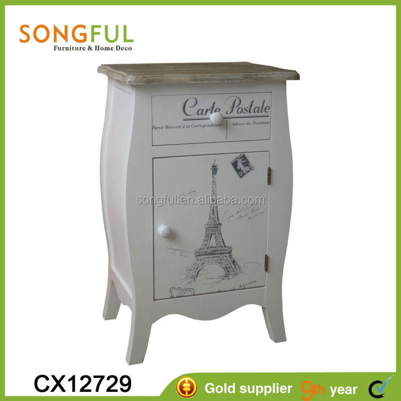 cheap chinese furniture,wooden cabinet w/1 drawer+1 door,antique white,stamp theme