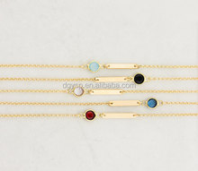 Inspire stainless steel jewelry Gold Bar Bracelet with colorful Crystal tiny thin chain bracelet for women