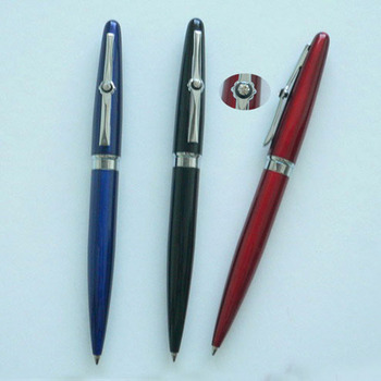 Novelty Advertising Custom Print Metal Ballpoint Pen With Special Clip For Promotion