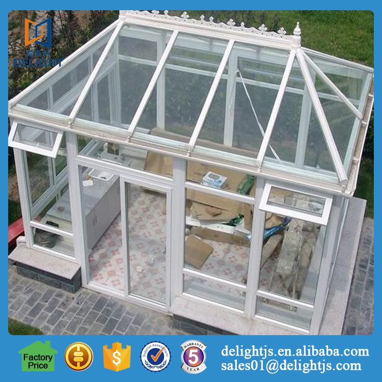 Aluminum frame glass green house with lowe glass for garden room
