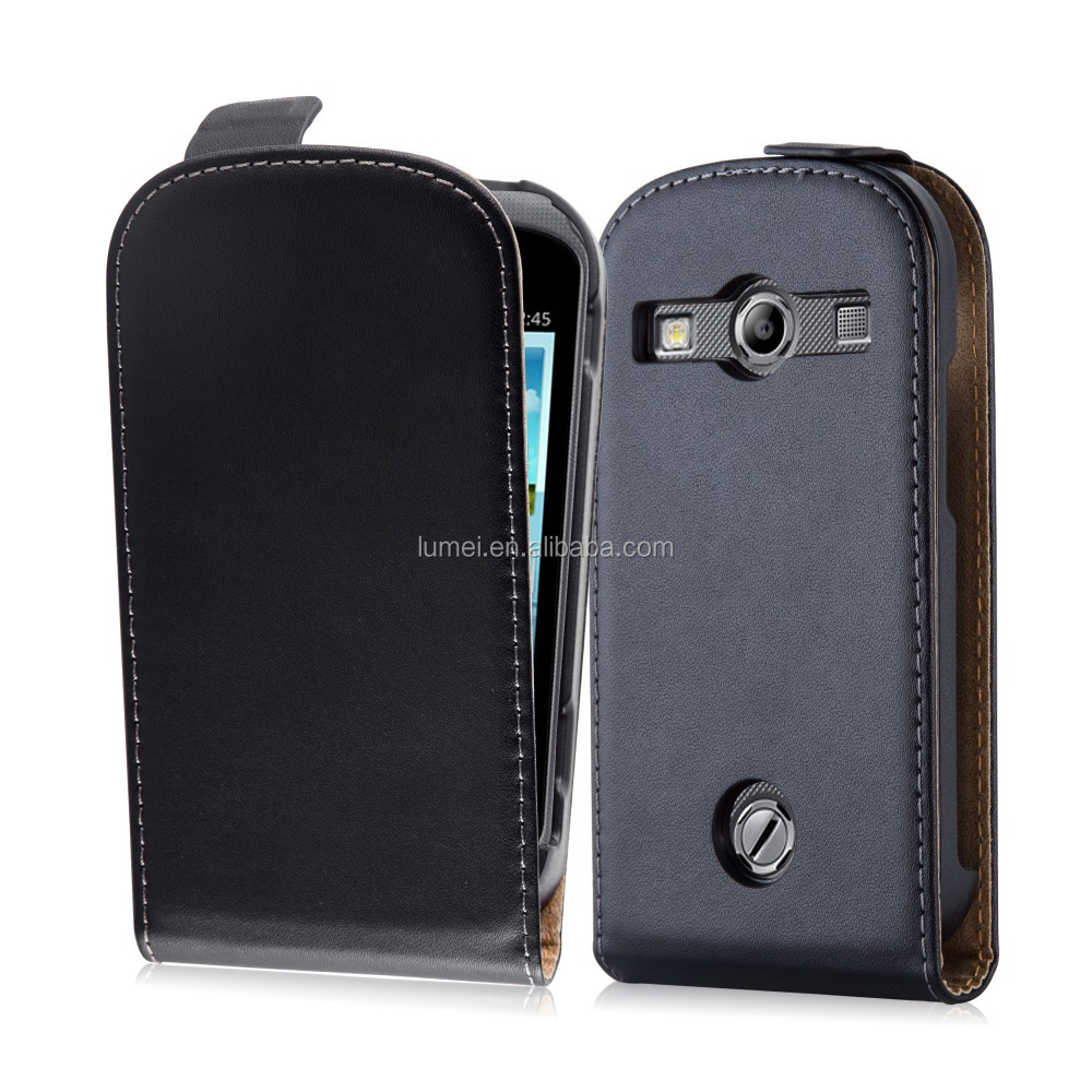 Premium Luxury Commercial Flip Genuine Leather Phone Case Cover For Samsung Galaxy Trend Duos S7562