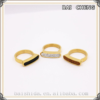 2016 wholesale men stainless steel ring Plating gold ring ladies fashion funky rings