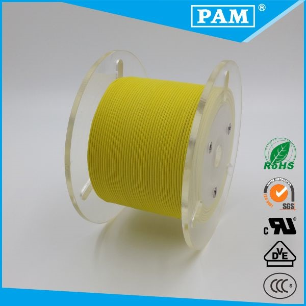 Yellow Color fiberglass braid silicone rubber insulation UL3122 16AWG wire cable