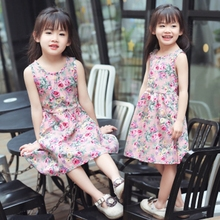 Girls'<strong>Dresses</strong> Summer Slim Kind of Children's <strong>Dresses</strong> with Small <strong>Girls'</strong> Belt Skirt and Sleeveless Broken Silk