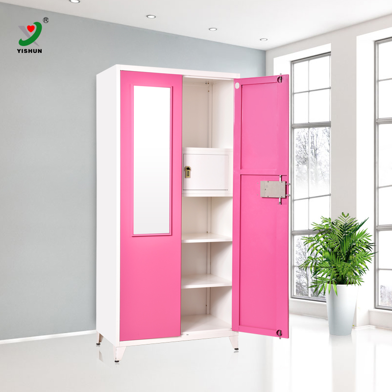 DIY bedroom furniture 2 door steel amirah wardrobe with safe code lock cabinet